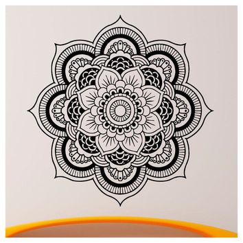 Wall Decals Mandala Yoga Ornament Indian Buddha Decal Vinyl Sticker Lotus Flower Home Decoration Murals (56*56cm) (black)