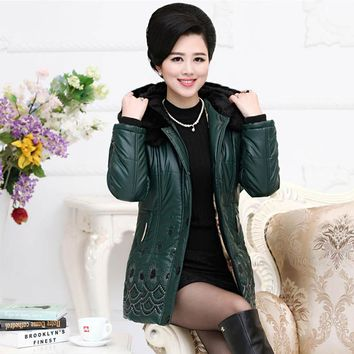 Middle-aged and old women's clothing of new fund of 2016 autumn winters is PU leather quilted jacket    PB2654070-1838