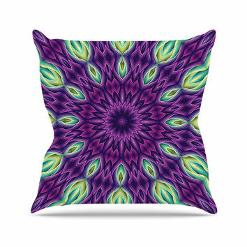 "Sylvia Cook ""Zapped - Purple"" Purple Green Outdoor Throw Pillow"