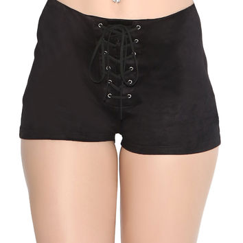 Suede Lace Up High Waisted Shorts