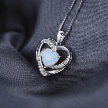 STYLEDOME 2.54ct Created Opal Heart Necklaces Pendants 925 Sterling Silver 45cm