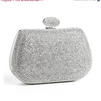 VALENTINES DAY SALE Dazzling Rhinestone Minaudiere Formal Clutch, Silver Frame, Evening Bag Prom/ Bridal/ Wedding Party