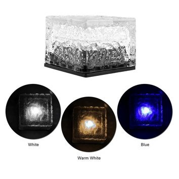 Outdoor Waterproof Solar LED Rock Light Light Sensor Auto ON/OFF Ice Cube Brick Lamp for Path Garden Lawn Stairs