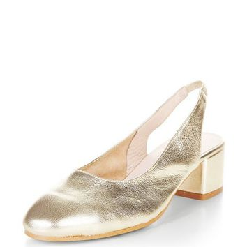 Gold Premium Leather Sling Back Court Shoes