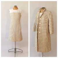 Vintage 1960s Dress and Matching Coat Tan White Houndstooth Dress and Jacket Mad Men Classic Linen Suit Dress Winter 1960s Two Piece Dress