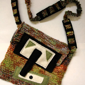 Knit bag, hand knit purse, multi colored bag, cross body bag with felt embellishments