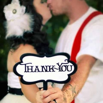 Photo Props - Thank You Sign - Black & White - Shabby Chic/Script - Item 006