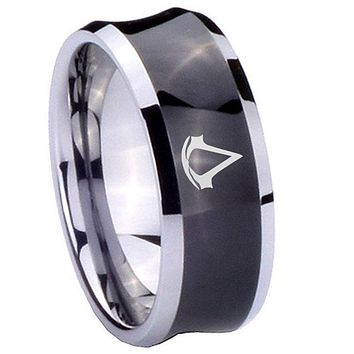 10mm Assassin's Creed Concave Black Tungsten Carbide Personalized Ring