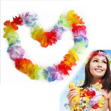 10Pcs NEW Hawaiian Colorful Leis Beach Theme Luau Party Flower Necklace Garlands For Party Decoration