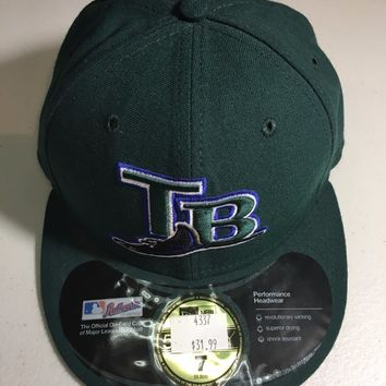 TAMPA BAY DEVILRAYS MLB RETRO NEW ERA 5950 GREEN W/ BLACK UNDER FITTED HAT