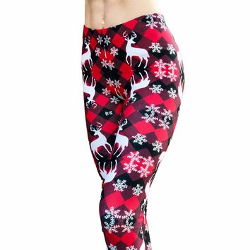 Reindeer Leggings - Rudolph Leggings - Snowflake Pattern Leggings - Winter Leggings