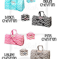 Personalized Chevron Duffel Bag and Small Cosmetic Bag Set (4 colors)