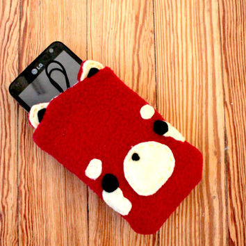 Red Panda Phone Pouch - iPod or iPhone Case , Smartphone Cozy , Kawaii Case