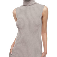 Sleeveless Ribbed Cashmere Sweater, Size: