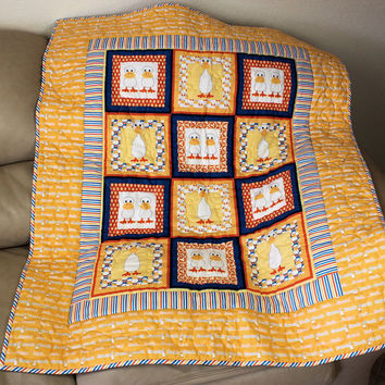 Baby Toddler Crib Quilt Duck Goose Yellow Baby Shower Gift