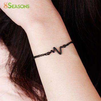 8SEASONS 3 colors New Arrival Heart beat Heartbeat Rhythm Chain Bracelet with Dangling Jewelry Bracelets Golden silver black