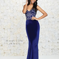 Madison James 15-113  Velvet Jeweled Prom Dress Evening Gown