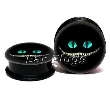 ac PEAPO2Q 1 pair cheshire cat face ear plug gauges black acrylic screw fit ear plug flesh tunnel body piercing jewelry PSP0773