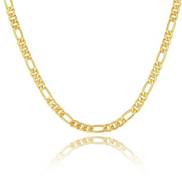 HCXX Gold color Men Necklace Jewelry Stainless Steel 5 Sizes 5MM Trendy Long Figaro Chain