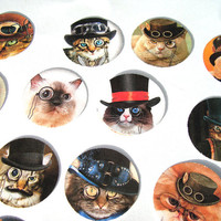 Steampunk Cats Stickers or Envelope Seals Set of 22 Tophats Monocles Mustaches
