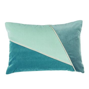 Color Blocked Glass Velvet Lumbar Pillow