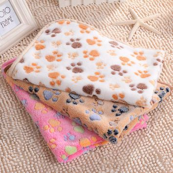 3 color Cute Floral Pet Sleep Warm Paw Print Dog Cat Puppy Fleece Soft Blanket Beds Mat 40 x 60cm