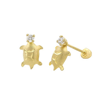 10k Yellow Gold CZ Turtle Stud Earrings with Screwbacks