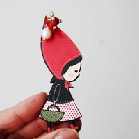 Red Riding Hood wooden brooch, wooden brooch of Red Riding Hood in profile with long, red hood, black vest and basket, girls teens brooch