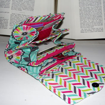 Mini Necessary Clutch Wallet, RTS, Great Handmade Gift, Floral fabric and chevron lining, NCW, Credit Cards, iPhone, wristlet