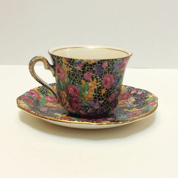 Royal Winton Grimwades Tea Cup, Chintz, Hazel Pattern, Black, Gold Rims, 1930s