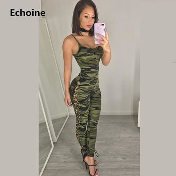 Women Summer Camouflage Sleeveless Bodycon Jumpsuit Sexy Lace Up Female Outfit Strap Jumpsuit Overall Camo Tracksuit Streetwear