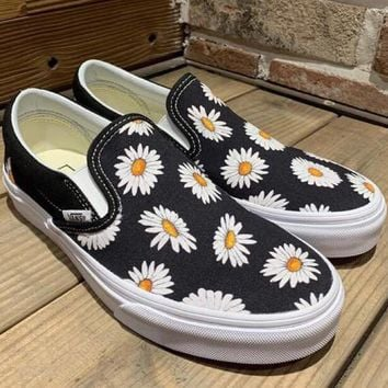 Vans Casual Yellow Sunflower Low Tops Shoes
