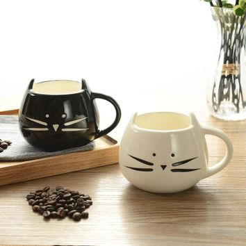 10oz Cute Ceramic Cat Face Mug with Ears