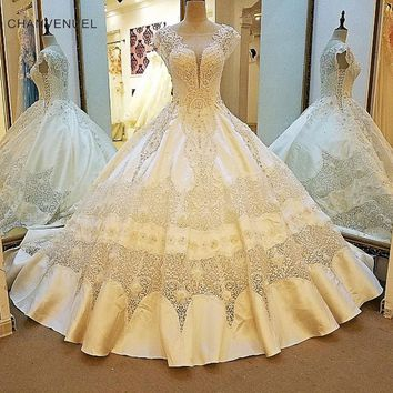 LS00107 Luxury wedding dress for bridal beading cap sleeves ball gown lace wedding gowns vestidos de noivas real photos 2018