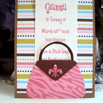 Childrens Birthday Inviation , Girls Birthday Invitation, Pink Birthday Invitation, Bridal Shower Invitation,Diva ,Birthday Invitation
