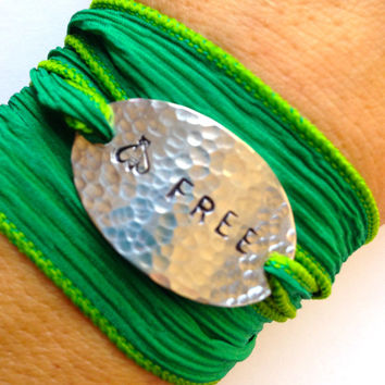 Be Free Inspirational Silk Wrap Bracelet Hand Stamped - Boho Jewelry - Free Spirit - Gifts For Her