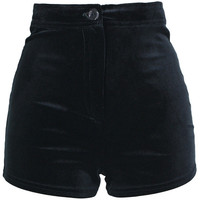 Black Velour Shorts, Velour High Waisted, Velour Hot Pants, Black Velour Shorts.