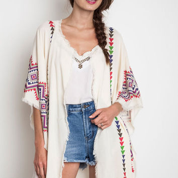 SALE 50% OFF Umgee Tribal Kimono Off White With Arrows Boho Native Print Red Purple Green Lightweight Raw Edges Small Medium Or Large