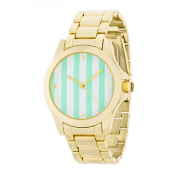 Gold Watch - Mint Stripe Dial