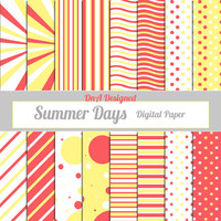 Digital Paper Packet- Instant Download- Scrapbooking Supplies- Photo Book Pages- Summer Days Digital Paper Packet Download- 12 x 12