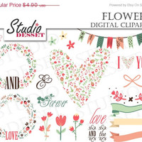 25% OFF Wreaths Floral Clipart, Digital Wreath, Flower Freames, Heart Clip Art, for Wedding Invitations, C172