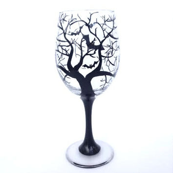 Halloween bat and tree hand painted wine glass