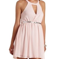 Belted Surplice Halter Chiffon Dress by Charlotte Russe - Pink