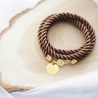 Brown bracelet cord rope nautical silk twisted bangle friendship jewelry wedding  bridesmaid