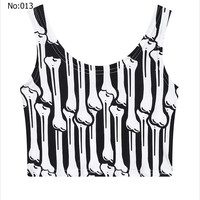 Sexy Short Girls Crop Top Bones Skeleton Printed Casual Sports Jogging Women Bare Midriff Tank Top