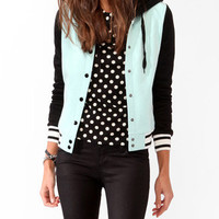 Colorblocked Varsity Jacket w/ Hood