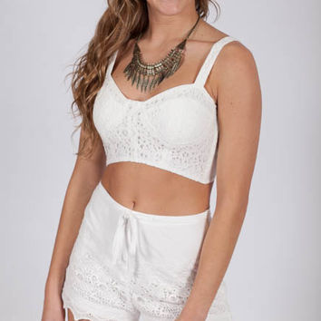 Beach Day Dreams White Lace Shorts