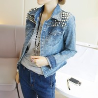 Distressed Rivet Slim Denim Short Coat