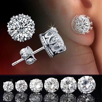 Fashion Elegant Women's Retro Classical 925 Silver Crystal Crown Ear Stud Earrings Jewelry (With Thanksgiving&Christmas Gift Box)= 1958276868
