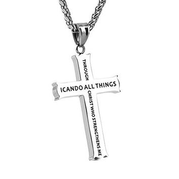 SHIP BY USPS: HZMAN Philippians 4:13 Jewelry, Cross Necklace STRENGTH Bible Verse, Stainless Steel with 24 inches Chain